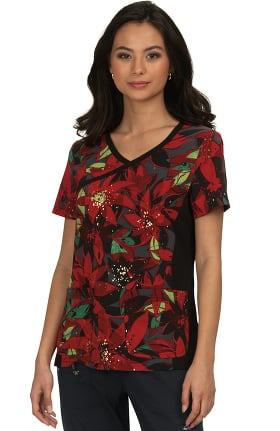 koi Lite Women's Raquel Holiday Floral Print Scrub Top