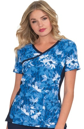 Clearance koi Prints Women's Raquel Into The Blues Print Scrub Top