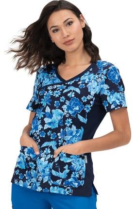 koi Classics Women's Raquel Mock Wrap Floral Print Scrub Top