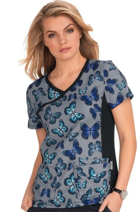 koi Lite Women's Raquel Stained Glass Butterfly Print Scrub Top
