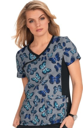 Clearance koi Lite Women's Raquel Stained Glass Butterfly Print Scrub Top