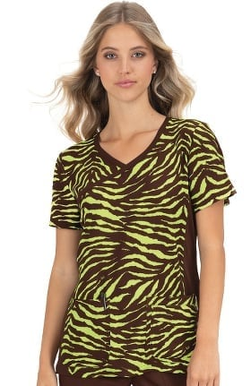 koi Classics Women's Raquel Mock Wrap Animal Print Scrub Top