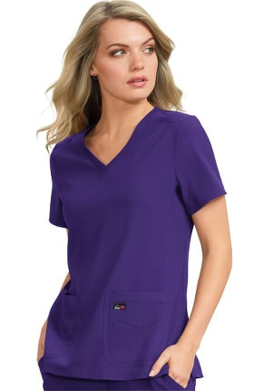 koi Lite Women's Skye V-Neck Knit Side Panel Solid Scrub Top
