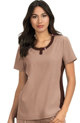 koi Lite Women's Lotus Colorblock Jewel Neck Solid Scrub Top