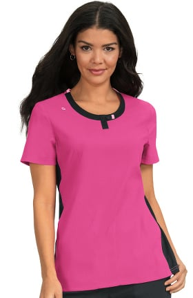Clearance koi Lite Women's Lotus Colorblock Jewel Neck Solid Scrub Top