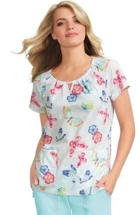 koi Prints Women's Kelby Gathered Round Neck Embroidered Floral Print Scrub Top
