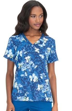 Clearance koi Classics Women's Kristen Mock Wrap Butterfly Print Scrub Top