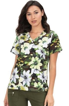 Clearance koi Classics Women's Kristen Mock Wrap Floral Print Scrub Top