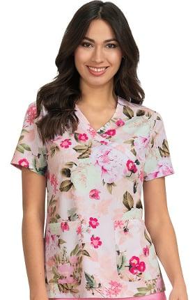 Clearance koi Prints Women's Kristen Mock Wrap Floral Print Scrub Top