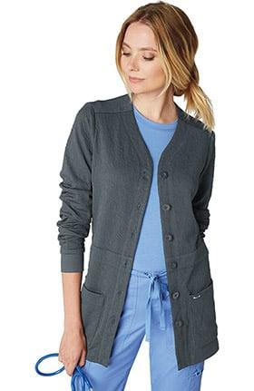 koi Lite Women's Claire Button Front Solid Cardigan Scrub Jacket