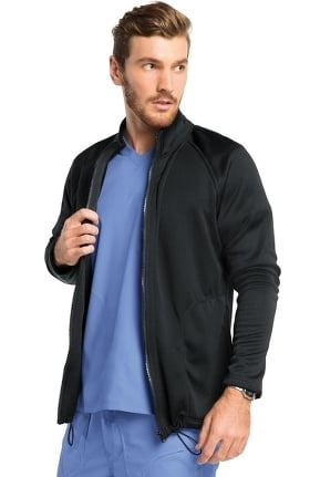 koi Lite Men's Freedom Zip Front Solid Scrub Jacket