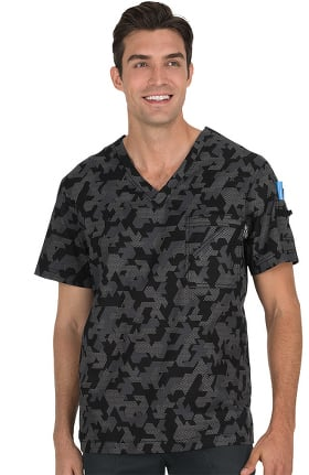 koi Prints Men's Coby V-Neck Camo Print Scrub Top
