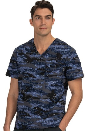 koi Prints Men's Coby Astronomy Print Scrub Top