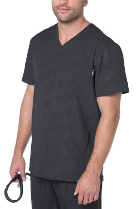 koi Lite Men's Zen V-Neck Embossed Solid Scrub Top