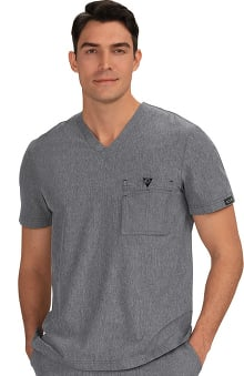 koi Basics Men's Bryan V-Neck Chest Pocket Solid Scrub Top