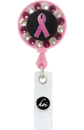 koi Accessories Women's Woven Breast Cancer Awareness Retractable Badge Reel