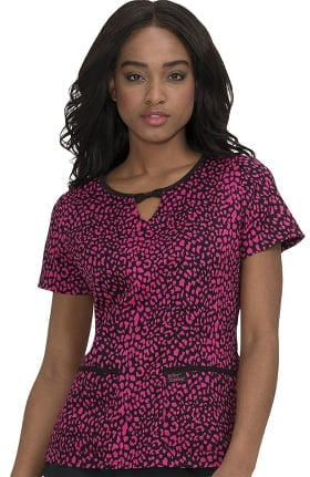Betsey Johnson by koi Women's Rose Animal Print Scrub Top