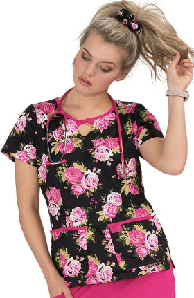 Betsey Johnson by koi Women's Rose Beautiful Rose Print Scrub Top
