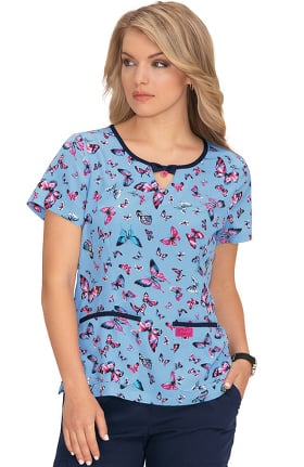 Clearance Betsey Johnson by koi Women's Rose Bright Butterflies Print Scrub Top