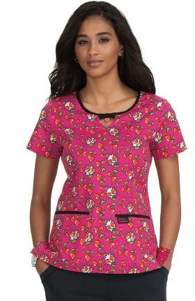 Betsey Johnson by koi Women's Rose Cherry Heart Pow Print Scrub Top