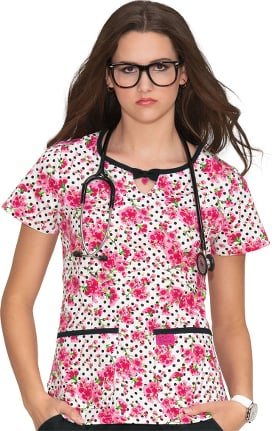Clearance Betsey Johnson by koi Women's Rose Cherry Blossom Print Scrub Top