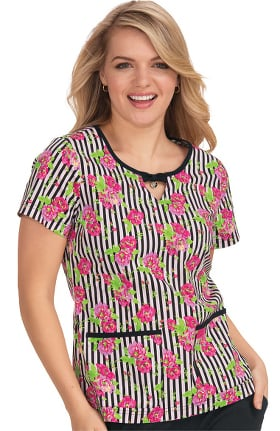 Clearance Betsey Johnson by koi Women's Rose Flowers And Stripes Print Top
