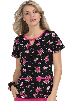 Clearance Betsey Johnson by koi Women's Rose Love And Kisses Print Scrub Top