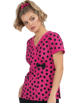Clearance Betsey Johnson by koi Women's Peony Betsey's Ikat Dot Print Scrub Top