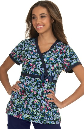 Betsey Johnson by koi Women's Peony Pop Art Print Scrub Top