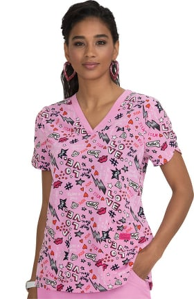 Clearance Betsey Johnson by koi Women's Iris V-Neck Betsey Day Print Scrub Top