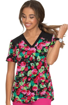 Betsey Johnson by koi Women's Orchid Bloomerang Floral Print Scrub Top