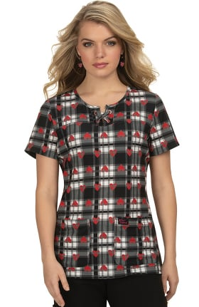 Betsey Johnson by koi Women's Clover Heart Plaid Print Scrub Top