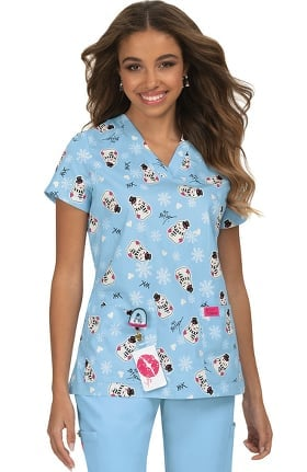 Betsey Johnson by koi Women's Bell Frosty Print Scrub Top