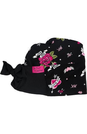 Betsey Johnson by koi Women's Surgical Love And Kisses Print Scrub Hat