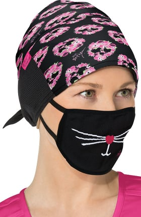 koi Betsey Johnson by koi Women's Skull Petal Print Scrub Hat