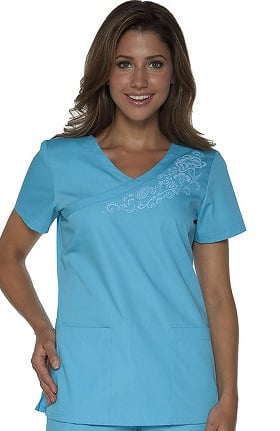 Clearance Orange Standard Women's Malibu Mini Mock Wrap Solid Scrub Top