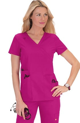 Clearance Orange Standard Women's Del Mar Mock Wrap Scrub Top