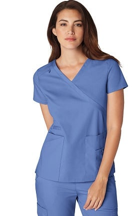 Clearance Orange Standard Women's Coronado Mock Wrap Solid Scrub Top