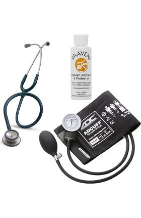 3M Littmann Classic II SE, ADC Phosphyg Sphygmomanometer, and Praveni Cleaning Kit