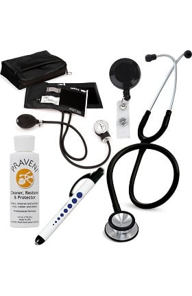 3M Littmann Classic II SE, Prestige Medical Adult Sphygmomanometer with Case, Quick Lites Penlight and Praveni Cleaning Kit