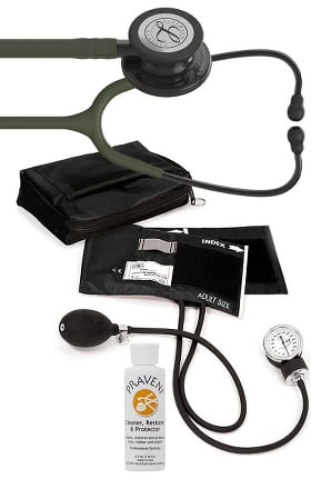 3M Littmann Classic III Stethoscope, Prestige Sphygmomanometer with Case & Praveni Kit