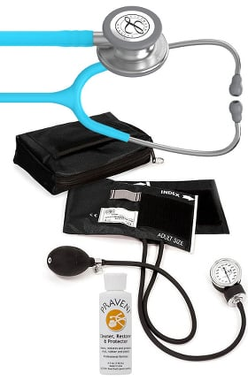 3M Littmann Classic III Stethoscope, Prestige Sphygmomanometer with Case & Praveni Kit