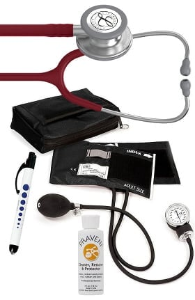 3M Littmann Classic III Stethoscope, Prestige Sphygmomanometer with Case, Penlight & Praveni Kit