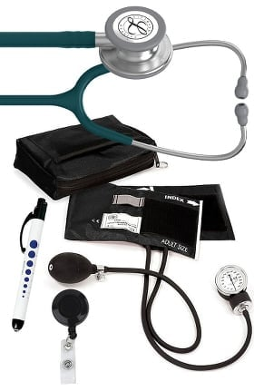 3M Littmann Classic III Stethoscope, Prestige Sphygmomanometer with Case, Penlight & Retracteze ID Holder Kit