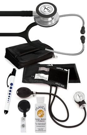 3M Littmann Classic III™ Monitoring Stethoscope, Prestige Medical Adult Sphygmomanometer with Case, Quick Lites Penlight and Praveni Cleaning Kit