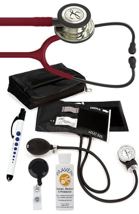 3M Littmann Classic III™ Monitoring Stethoscope, Prestige Medical Adult Sphygmomanometer with Case, Quick Lites Penlight, Retracteze Badge Holder, and Praveni Cleaning Kit