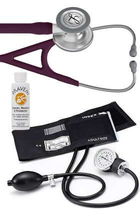 3M Littmann Cardiology IV™ Diagnostic Stethoscope with Prestige Medical Basics Aneroid Sphygmomanometer & Praveni Cleaning Kit