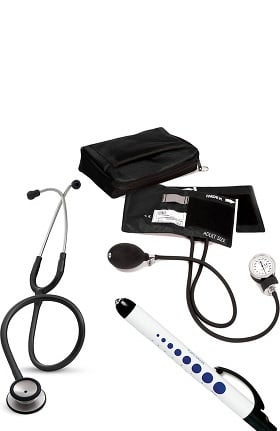 3M Littmann Classic II SE Stethoscope, Prestige Medical Adult Sphygmomanometer with Case and Quick Lites Penlight Kit