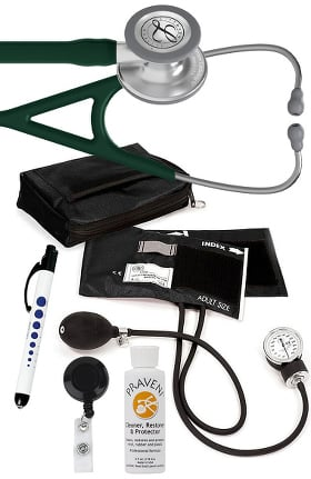 3M Littmann Cardiology IV™ Diagnostic Stethoscope with Prestige Medical Aneroid Sphygmomanometer, Carrying Case, Pupil Gauge Quick Lites Penlight, Retracteze Badge Holder & Praveni Cleaning Kit