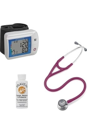 3M Littmann Cardiology IV™ Diagnostic Stethoscope with Veridian Healthcare Digital Blood Pressure Monitor & Praveni Cleaning Kit